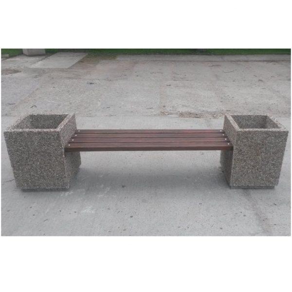 Скамейка «Стиль» с вазонами бетонный уличный с фактурой натуральной каменной крошки